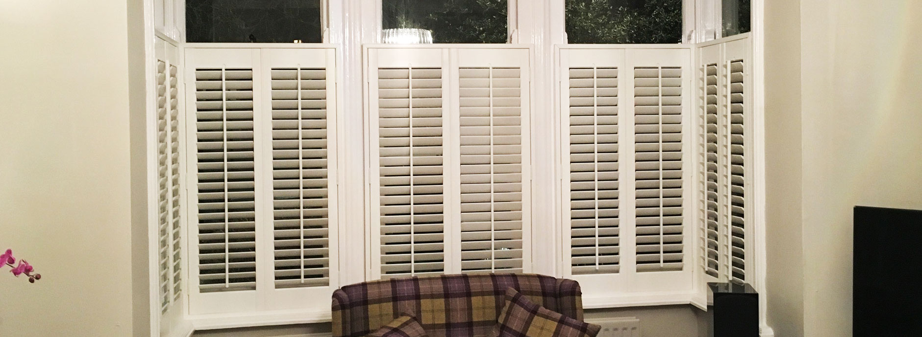 Faux wood cafe style shutters - Curtains by Design